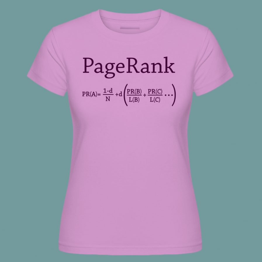 pagerank pink seo t-shirt for ladies