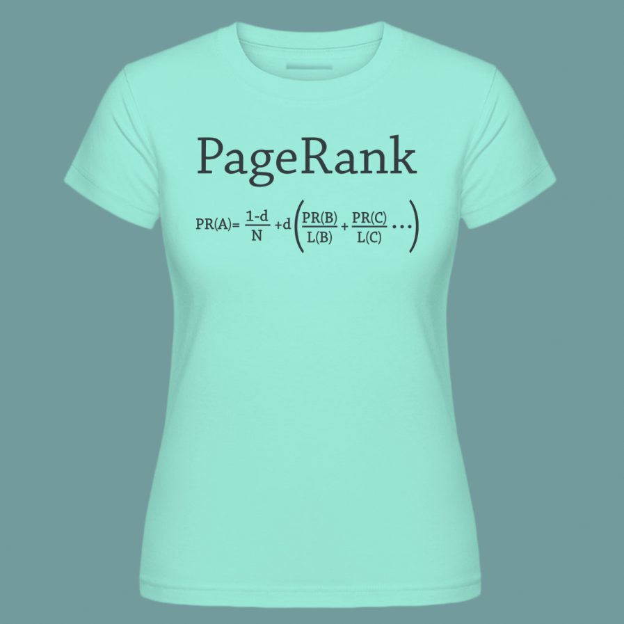 pagerank sea foam green seo t-shirt for ladies