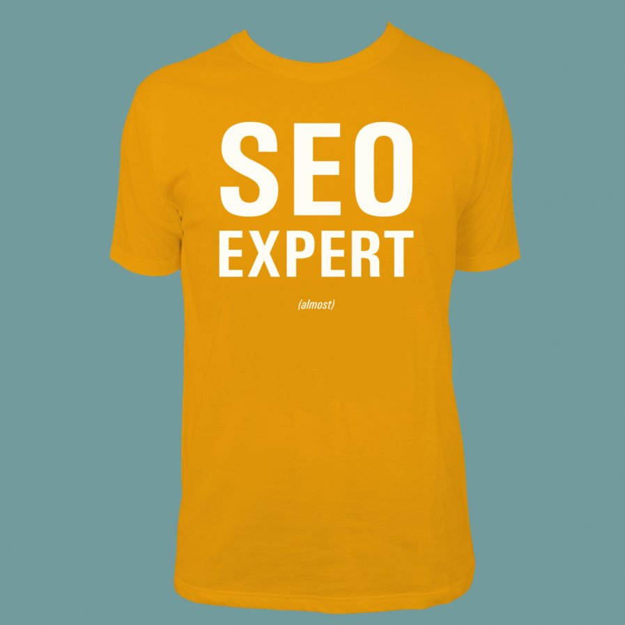 SEO Expert (almost) Orange T-Shirt for sale at dontbesuchatees.com