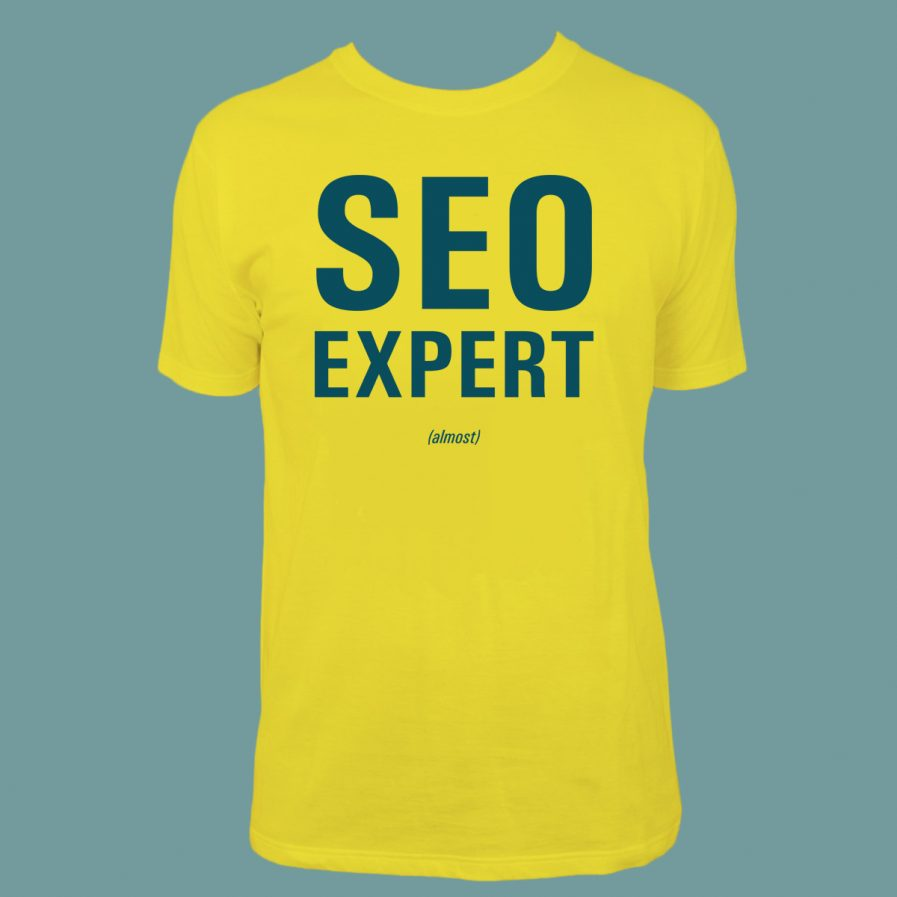 SEO Expert (almost) Yellow T-Shirt for sale at dontbesuchatees.com